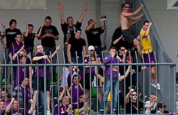 Viole, Fans of Maribor celebrate during football match between NK Primorje and NK Maribor of 1st Slovenian football league PrvaLiga, on May 21, 2011 in Ajdovscina, Slovenia. Maribor defeated Primorje 2-1 and became Slovenian national Champion 2010/2011. (Photo By Vid Ponikvar / Sportida.com)