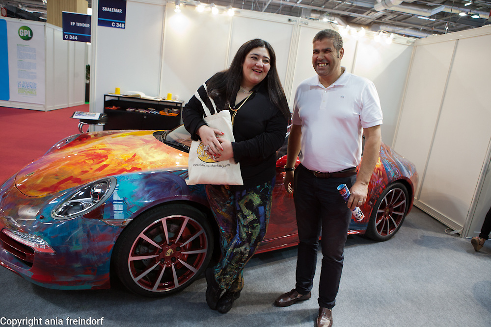 "Shalimar Sharbatly ""Shalemar' saudi artist, exposing her painted car on Salon Mondial Automobile"