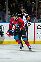 KELOWNA, CANADA - MARCH 16: Dallon Wilton #15 of the Kelowna Rockets skates against the Vancouver Giants  on March 16, 2019 at Prospera Place in Kelowna, British Columbia, Canada.  (Photo by Marissa Baecker/Shoot the Breeze)