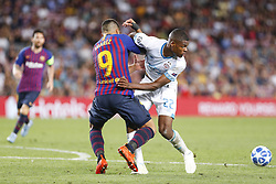 September 18, 2018 - Barcelona, Spain - FC Barcelona forward Luis Suarez (9) and PSV Eindhoven defender Denzel Dumfries (22) during the UEFA Champions League match between FC Barcelona and PSV Eindhoven at Camp Nou Stadium corresponding of matchday 1, group B on September 18, 2018 in Barcelona, Spain. (Credit Image: © Urbanandsport/NurPhoto/ZUMA Press)