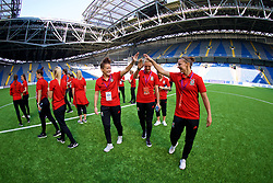 ASTANA, KAZAKHSTAN - Sunday, September 17, 2017: Wales' Angharad James, captain Sophie Ingle and Loren Dykes Harding on the pitch before the FIFA Women's World Cup 2019 Qualifying Round Group 1 match between Kazakhstan and Wales at the Astana Arena. (Pic by David Rawcliffe/Propaganda)