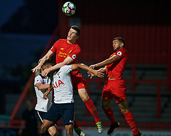 STEVENAGE, ENGLAND - Monday, September 19, 2016: Liverpool's Corey Whelan and Kevin Stewart in action against Tottenham Hotspur during the FA Premier League 2 Under-23 match at Broadhall. (Pic by David Rawcliffe/Propaganda)