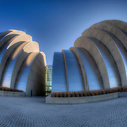 Fisheye view of Kauffman Center For the Performing Arts in downtown Kansas City Missouri.