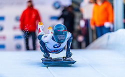 17.01.2020, Olympia Eiskanal, Innsbruck, AUT, BMW IBSF Weltcup Bob und Skeleton, Igls, Skeleton, Damen, 1. Lauf, im Bild Janine Flock (AUT) // Janine Flock of Austria in action during her 1st run of women's Skeleton competition of BMW IBSF World Cup at the Olympia Eiskanal in Innsbruck, Austria on 2020/01/17. EXPA Pictures © 2020, PhotoCredit: EXPA/ Stefan Adelsberger