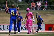 The Otago Volts celebrate the wicket of Knights' BJ Watling who was caught behind off the bowling of Otago Volts' Neil Wagner during the McDonalds Super Smash T20 cricket match - Knights v Volts played at Bay Oval, Mount Maunganui, New Zealand on Sunday 18 December.<br /> <br /> Copyright photo: Bruce Lim / www.photosport.nz