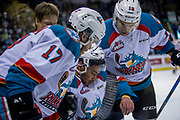 KELOWNA, CANADA - APRIL 30:  Rodney Southam #17 of the Kelowna Rockets, Devante Stephens #21 of the Kelowna Rockets, Kole Lind #16 of the Kelowna Rockets at the Kelowna Rockets game on April 30, 2017 at Prospera Place in Kelowna, British Columbia, Canada.  (Photo By Cindy Rogers/Nyasa Photography,  *** Local Caption ***