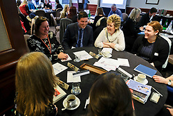 Pictured: Jamie Hepburn took part in table discussions as part of the day. <br /> <br /> Employability Minister Jamie Hepburn was in Edinburgh today and met members of employability project before heading to the Scottish Parliament where he will make a speech announcing a plan for integration 'No one left behind.<br /> <br /> Ger Harley | EEm 27 March 2018
