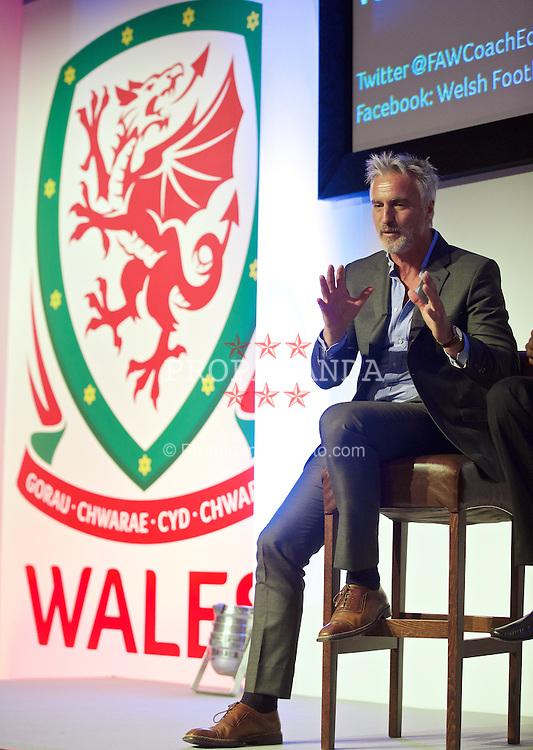 NEWPORT, WALES - Friday, May 29, 2015: David Ginola during the Football Association of Wales' National Coaches Conference 2015 at the Celtic Manor Resort. (Pic by David Rawcliffe/Propaganda)