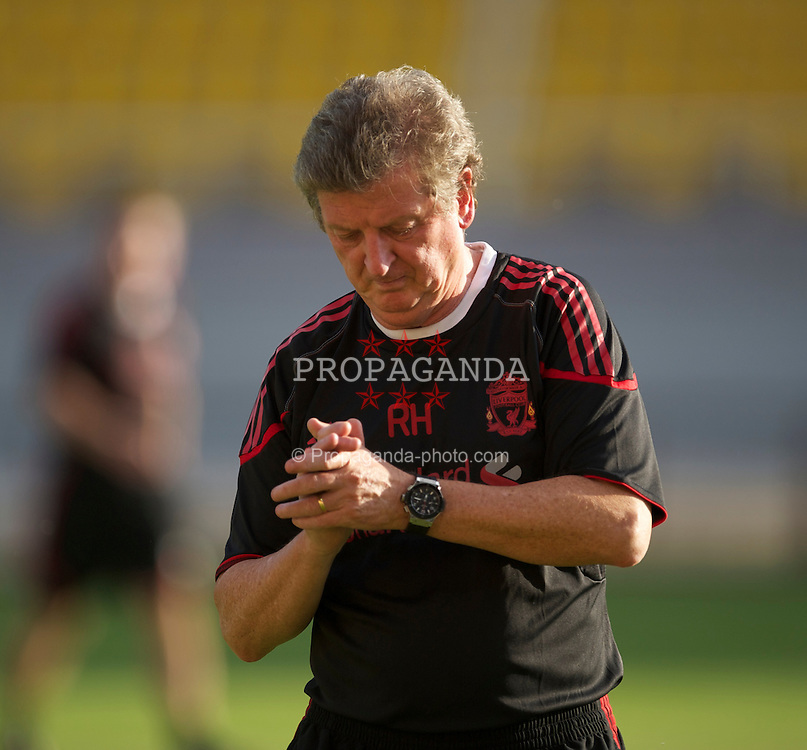 SKOPJE, MACEDONIA - Wednesday, July 28, 2010: Liverpool's manager Roy Hodgson during a training session at the National Arena Filip II Stadium ahead of the UEFA Europa League 3rd Qualifying Round 1st Leg match against FK Rabotnicki. (Pic by David Rawcliffe/Propaganda)