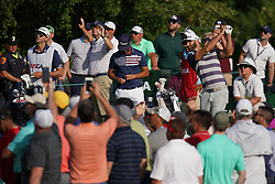 June 16, 2018 - Southampton, NY, USA - Dustin Johnson tees off the 11th hole during the third round of the 2018 U.S. Open at Shinnecock Hills Country Club in Southampton, N.Y., on Saturday, June 16, 2018. (Credit Image: © Brian Ciancio/TNS via ZUMA Wire)