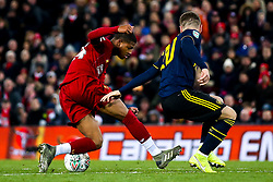 Rhian Brewster of Liverpool takes on Shkodran Mustafi of Arsenal - Mandatory by-line: Robbie Stephenson/JMP - 30/10/2019 - FOOTBALL - Anfield - Liverpool, England - Liverpool v Arsenal - Carabao Cup