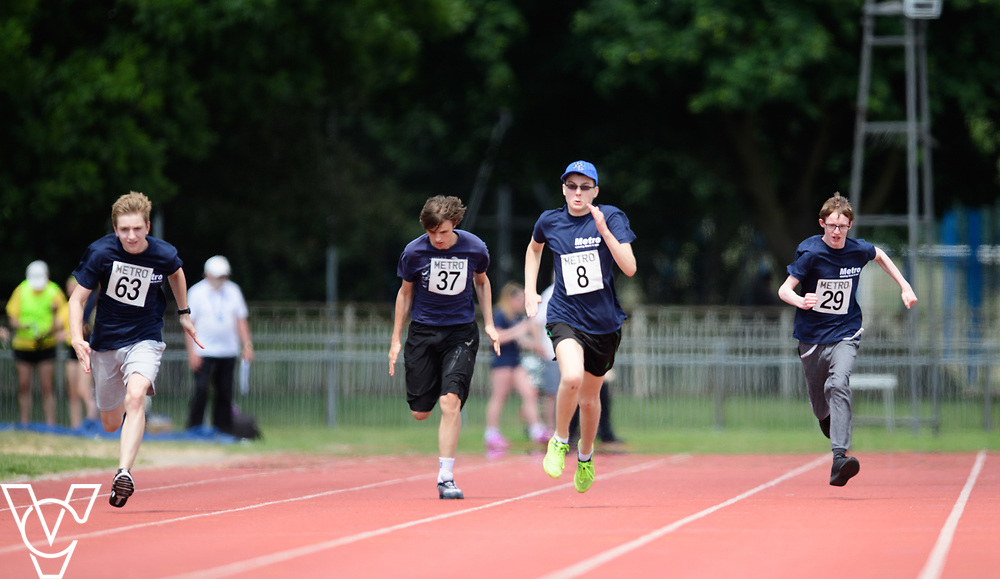 Metro Blind Sport's 2017 Athletics Open held at Mile End Stadium.  100m.  From left, Sam Crowhurst (PLEASE CHECK), Andrew Lancaster, Luke Boulding and Steven Magee <br /> <br /> Picture: Chris Vaughan Photography for Metro Blind Sport<br /> Date: June 17, 2017