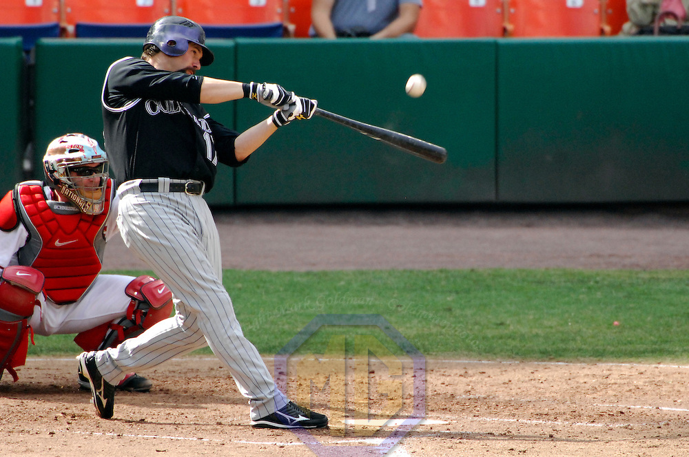 21 July 2007:  Colorado Rockies first baseman Todd Helton (17) pops out the shortstop in the 4th inning against Washington Nationals pitcher Mike Bacsik.  The Nationals defeated the Rockies 3-0 at RFK Stadium in Washington, D.C.  ****For Editorial Use Only****