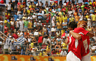 Football-FIFA Beach Soccer World Cup 2006 - Semi Finals, France - Uruguay, Beachsoccer World Cup 2006. Uruguay's Miguel and Fabian celebrate the victory. Rio de Janeiro - Brazil 11/11/2006. Mandatory credit: FIFA/ Manuel Queimadelos