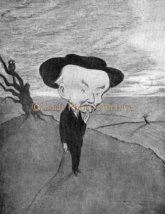 Mr Thomas Hardy composing a lyric',  1913.   Thomas Hardy (1840-1928), English novelist and poet, was born and lived most of his life in Dorset. Beerbohm shows Hardy on a heath in his beloved Wessex. From 'Fifty Caricatures' by Max Beerbohm. (London, 1913).    COPYRIGHT MUST BE CLEARED.