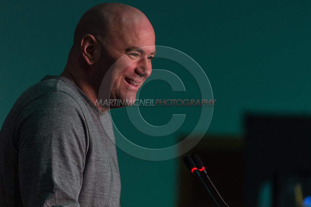 LONDON, ENGLAND, FEBRUARY 13, 2013: Dana White during the pre-fight press conference for UFC on Fuel TV 7 inside London Shootfighters Gym in Park Royal, London, England on Wednesday, February 13, 2013 © Martin McNeil