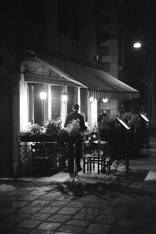 Venice, Italy - restaurant in Cannaregio district at night