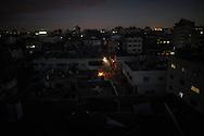 Al Shate' refugee camp after dusk. Il campo rifugiati di Al Shate' dopo il tramonto.