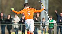 ROTTERDAM -   Nick Doeser has scored.   Practice Match  Hockey : Netherlands Boys U16  v England U16 . COPYRIGHT KOEN SUYK