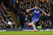 Filipe Luis of Chelsea shoots during the Capital One Cup Semi Final 2nd Leg match between Chelsea and Liverpool at Stamford Bridge, London, England on 27 January 2015. Photo by David Horn.