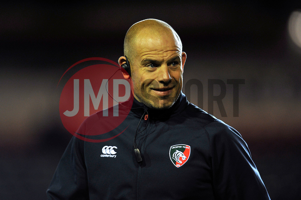 Director of Rugby Richard Cockerill looks on during the pre-match warm-up - Photo mandatory by-line: Patrick Khachfe/JMP - Mobile: 07966 386802 10/10/2014 - SPORT - RUGBY UNION - Leicester - Welford Road - Leicester Tigers v Harlequins - Aviva Premiership