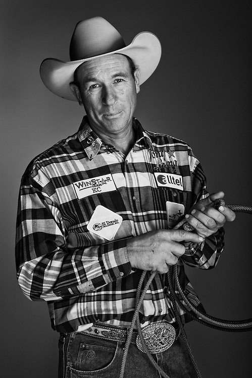 Jake Barnes, Tie-down roper. 2008 National Finals Rodeo, Portrait session following the 10th go-round. Saturday, December 12 2008, The Thomas and Mack Center, Las Vegas, Nevada. Photograph © 2008 Darren Carroll