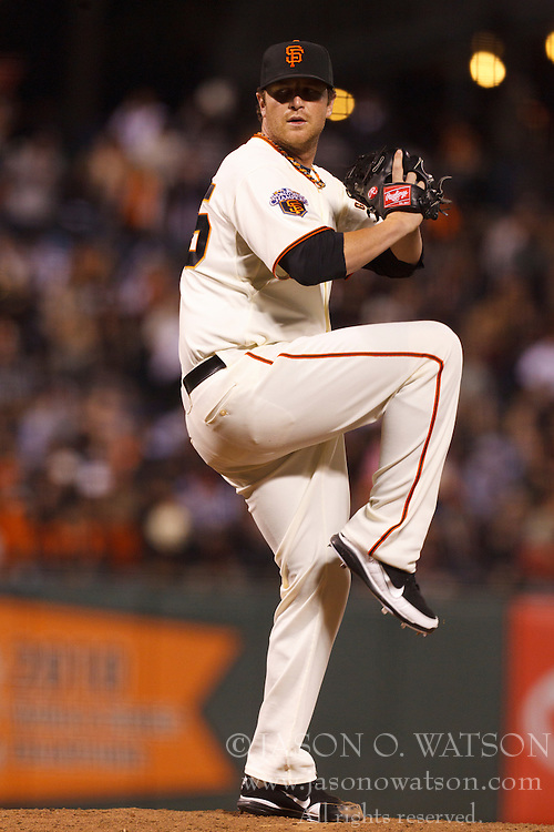 September 12, 2011; San Francisco, CA, USA;  San Francisco Giants relief pitcher Dan Runzler (45) pitches against the San Diego Padres during the sixth inning at AT&T Park. San Francisco defeated San Diego 8-3.