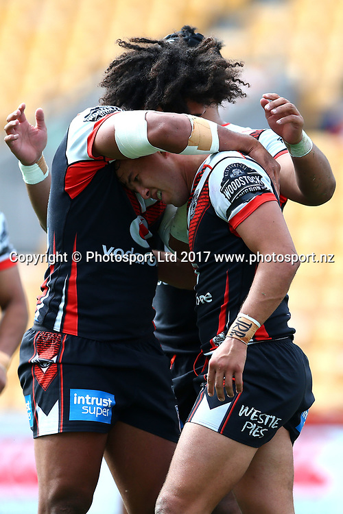 Sam Cook celebrates his try with Chris Satae. NZ Warriors v Wyong Roos, Round 9 of the 2017 ISP Intrust Super Premiership Rugby League season at Mt Smart Stadium, Auckland, New Zealand. 30 April 2017. Copyright photo: Renee McKay / www.photosport.nz