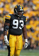 September 17, 2011: Iowa Hawkeyes defensive lineman Mike Daniels (93) during the first half of the game between the Iowa Hawkeyes and the Pittsburgh Panthers at Kinnick Stadium in Iowa City, Iowa on Saturday, September 17, 2011. Iowa defeated Pittsburgh 31-27.