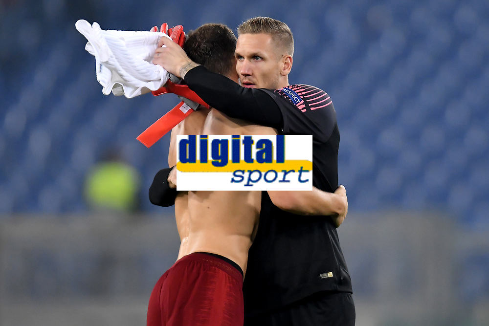 Edin Dzeko and Patrick Robin Olsen of AS Roma celebrate at the end of the Uefa Champions League 2018/2019 Group G football match between AS Roma and CSKA Moscow at Olimpico stadium Allianz Stadium, Rome, October, 23, 2018 <br />  Foto Andrea Staccioli / Insidefoto