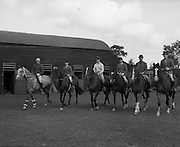 The Irish Olympic Equestrian Team which would compete in Mexico. (L to R) Mr John Fowler, 'March Hair'; Miss Juliet Jobling-Purser, 'Jenny'; Mr Alan Lillington, 'Biddlecome'; Mrs Diana Wilson, 'Chianto Rosso'; The Hon. Patrick Connolly Carew, 'Ping Pong'; Miss Penny Moreton, 'Loughlin'.<br /> 31.08.1968