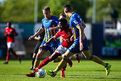 Tariqe Fosu of Charlton Athletic takes on Bryn Morris and James Bolton of Shrewsbury Town - Mandatory by-line: Robbie Stephenson/JMP - 13/05/2018 - FOOTBALL - Montgomery Waters Meadow - Shrewsbury, England - Shrewsbury Town v Charlton Athletic - Sky Bet League One Play-Off Semi Final