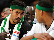 (l-r) Rasheed Wallace, Kevin Garnett and Paul Pierce talk over the situation in the final moments of the 4th quarter. The Lakers defeated the Boston Celtics in game 6 of the NBA Finals 89-67. Los Angeles, CA 06/15/2010 (John McCoy/Staff Photographer).