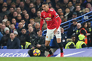Manchester United Defender Chris Smalling during the Premier League match between Chelsea and Manchester United at Stamford Bridge, London, England on 5 November 2017. Photo by Phil Duncan.
