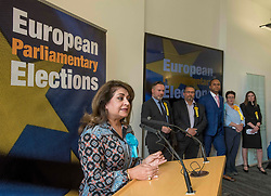 Pictured: New Conservative MEP Nosheena Mobarik speaks after the declaration.<br /> <br /> Scotland's results in the European elections were announced at the City Chambers in Edinburgh.<br /> <br /> © Dave Johnston / EEm