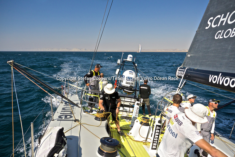 January 6, 2015. Leg 3 onboard Team Brunel. All hands on deck for a gybe