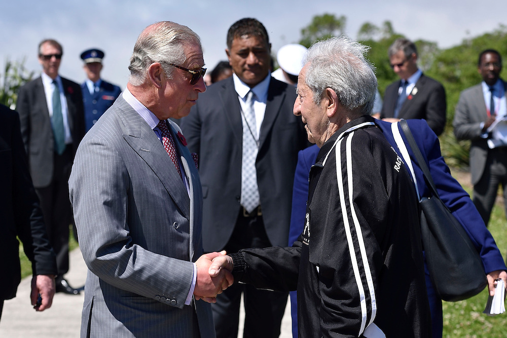 Prince Charles, Prince of Wales, meets a member of the local walking group as he walks along the Coastal Walkway during a visit to the Te Rewa Rewa bridge on the coastal walkway, New Plymouth, New Zealand, New Zealand, Monday, November 09, 2015. Credit:SNPA / AFP, Marty Melville  **POOL**