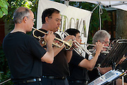 Members of the Minidoka Swing Band perform  on the grounds of Washington Country Museum, Hillsboro, Oregon