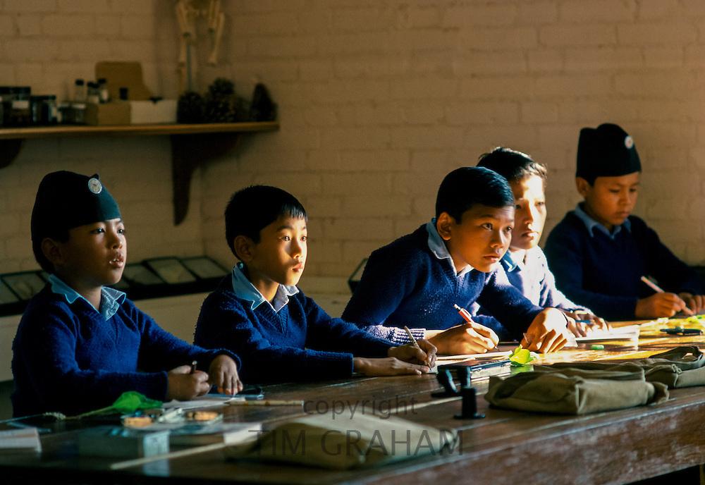 Schoolboys attending lessons at a school in Kathmandu, Nepal