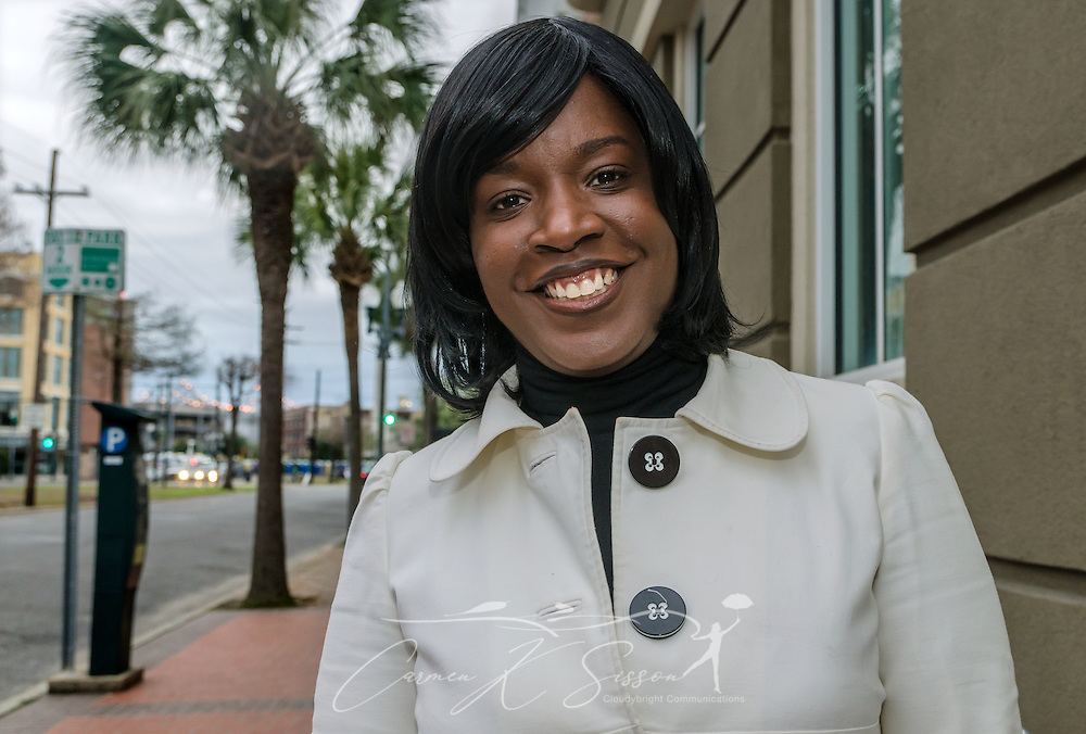 Aretha Frison stands outside the WDSU-TV station in New Orleans, La., Feb. 28, 2014. Frison, who works as a news producer at WDSU, was born in Detroit but moved to New Orleans in 2006. Frison is part of a growing number of African-Americans who are relocating from the North to the South. The 2000 Census marked the first time the South's black population has increased in more than a century. (Photo by Carmen K. Sisson/Cloudybright)