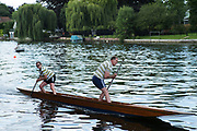 "Maidenhead, United Kingdom.  ""Mixed Double"" approaching the finish line.""Thames Punting Club Regatta"", Bray Reach.<br />