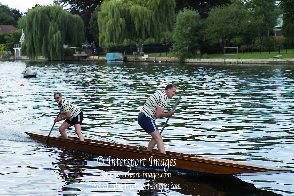 """Maidenhead, United Kingdom.  """"Mixed Double"""" approaching the finish line.""""Thames Punting Club Regatta"""", Bray Reach.<br /> 11:31:18 Sunday  06/08/2017<br /> <br /> [Mandatory Credit. Peter SPURRIER Intersport Images}.<br /> <br /> LEICA M (Typ 262) mm  f6.8   1/250 /sec    100 ISO River Thames, .......... Summer, Sport, Sunny, Bright, Blue Skies, Skilful,"""