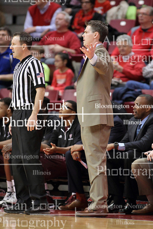 28 January 2015:  Paul Lusk questioningly waves his arms at his players while standing near Brad Gaston during an NCAA MVC (Missouri Valley Conference) men's basketball game between the Missouri State Bears and the Illinois State Redbirds at Redbird Arena in Normal Illinois