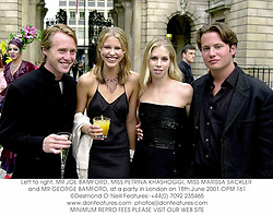 Left to right, MR JOE BAMFORD, MISS PETRINA KHASHOGGI, MISS MARISSA SACKLER and MR GEORGE BAMFORD, at a party in London on 18th June 2001.		OPM 161