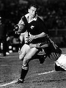 Michael Jones in action, New Zealand All Blacks v France. 1980's (poss lions tour 1983). Photo: PHOTOSPORT/Peter Bush