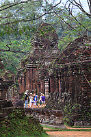 Tourists wander through the ancient Hindu temple complex of My Son Sanctuary in central Vietnam