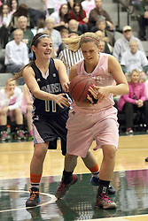 08 February 2014:  Lexi Baltes & Katie Swanson during an NCAA women's division 3 CCIW basketball game between the Elmhurst Bluejays and the Illinois Wesleyan Titans in Shirk Center, Bloomington IL