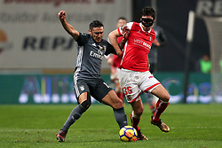 January 13, 2018 - Braga, Braga, Portugal - Benfica's Argentinian forward Toto Salvio (L) vies with Braga's Serbian midfielder Nikola Vukcevic (R) during the Premier League 2017/18 match between SC Braga and SL Benfica, at Municipal de Braga Stadium in Braga on January 13, 2018. (Credit Image: © Dpi/NurPhoto via ZUMA Press)