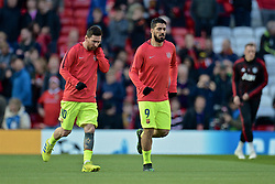 MANCHESTER, ENGLAND - Thursday, April 11, 2019: Barcelona's captain Lionel Messi (L) and Luis Alberto Suarez Diaz during the pre-match warm-up before the UEFA Champions League Quarter-Final 1st Leg match between Manchester United FC and FC Barcelona at Old Trafford. (Pic by David Rawcliffe/Propaganda)