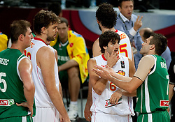 Ricky Rubio of Spain and Sani Becirovic of Slovenia during the fifth-place basketball match between National teams of Slovenia and Spain at 2010 FIBA World Championships on September 10, 2010 at the Sinan Erdem Dome in Istanbul, Turkey.  Spain defeated Slovenia 97 - 80. (Photo By Vid Ponikvar / Sportida.com)